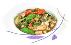 Stir fried fish with basil Stock Image