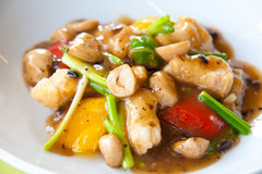 Stir-fried fish with colorful vegetables Stock Image