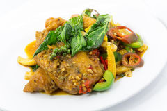 Stir fried fish is spicy Stock Images