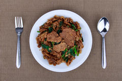 Stir fried flat noodle and pork with dark soy sauce. Stock Photos
