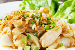 Stir fried fresh rice fat noodles with chicken and egg Royalty Free Stock Photography