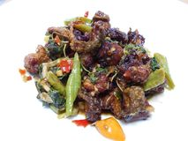 Stir fried frog and basil Royalty Free Stock Photography