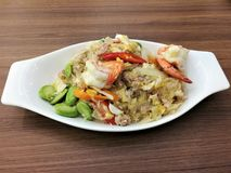 Stir Fried glass noodle and Shrimp with stinky bean Sataw stock photography