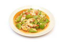 Stir fried gourd with shrimp and egg Royalty Free Stock Photos
