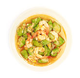 Stir fried gourd with shrimp and egg Stock Image