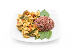 Stir-fried Green Curry Chicken with Berry Rice Royalty Free Stock Images