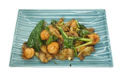Stir fried green vegetables with pork and sausage Royalty Free Stock Images