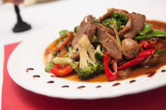 Stir fried grill duck with black pepper. Royalty Free Stock Photography