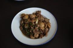 Stir-fried a haché le porc, champignon, sauce de soja, sauce à poissons photographie stock libre de droits