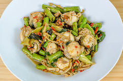 Stir Fried herbal vegetables with scallops Stock Photo