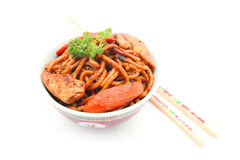Stir fried Hokkien Noodle in the bowl Stock Photos