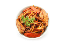 Stir fried Hokkien Noodle in the bowl Royalty Free Stock Photos