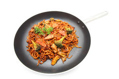 Stir fried Hokkien Noodle in the frying pan Royalty Free Stock Photo