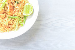 Stir fried instant noodle. With egg and pork Stock Images