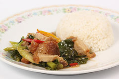 Stir fried kale Crispy pork with steamed rice Royalty Free Stock Photos