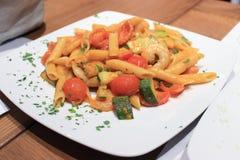 Stir fried macaroni with prawn Stock Image