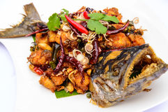 Stir Fried Mackerel. Stock Images