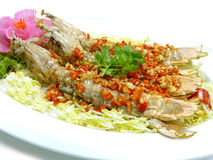 Stir fried mantis shrimp with garlic Royalty Free Stock Photos