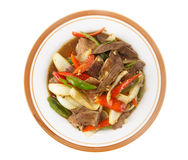 Stir fried meat with chilli pepper isolated on white Royalty Free Stock Image