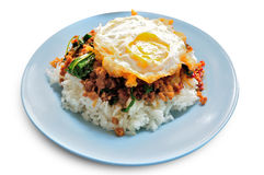 Stir fried minced pork and chili ,basil served with steamed rice Royalty Free Stock Photography