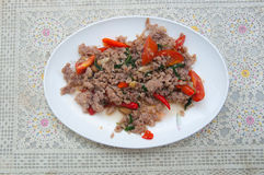 Stir-fried minced pork with holy basil Stock Photography