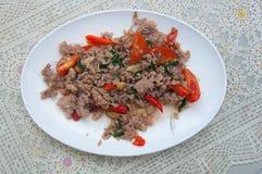 Stir-fried minced pork with holy basil Stock Photography
