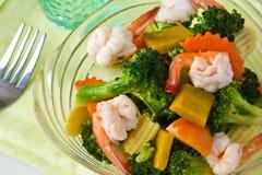 Stir fried mix vegatbles. Thai Food, Stir fried mix vegatbles with shrimp Stock Photo