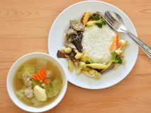 Stir fried mixed vegetable with pork liver and egg tofu soup Royalty Free Stock Image