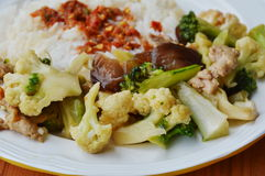 Stir fried mixed vegetable with pork and spicy shrimp paste on rice Royalty Free Stock Images