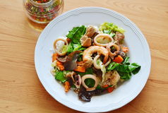 Stir fried mixed vegetable with seafood and chili fish sauce Stock Photography