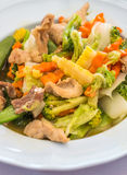 Stir fried mixed vegetables and pork Royalty Free Stock Photography