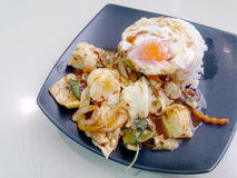 Stir Fried mixed vegetables with Roasted Chili Paste , fried egg & Thai jasmine rice on black dish. Vegetarian Food, healthy food.  Royalty Free Stock Images