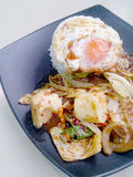Stir Fried mixed vegetables with Roasted Chili Paste , fried egg & Thai jasmine rice on black dish. Vegetarian Food, healthy food. Stir Fried mixed Stock Image