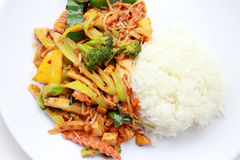 Stir Fried mixed vegetables with Roasted Chili Paste, Vegetarian Food, Healthy Food. Thai cuisine.  Stock Photography