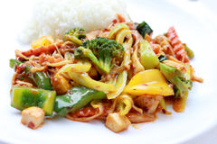 Stir Fried mixed vegetables with Roasted Chili Paste, Vegetarian Food, Healthy Food. Thai cuisine.  Stock Photo