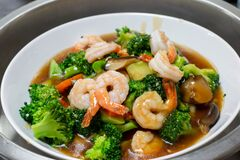Stir Fried Mixed Vegetables With Shrimp Stock Photos