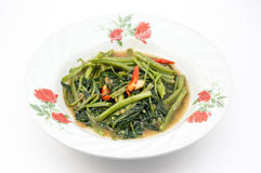Stir fried of morning glory  on dish Stock Image