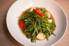 Stir fried of morning glory thai style Stock Photos