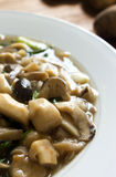 Stir-fried mushrooms and green onion, vegetarian food. Stock Photography