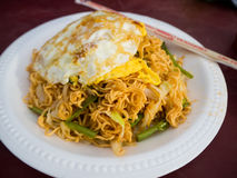 Stir fried noodle with eggs and vegetable, cambodia food. Royalty Free Stock Photography