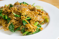 Stir fried noodle with minced pork. And vegetable, selective focus stock photos