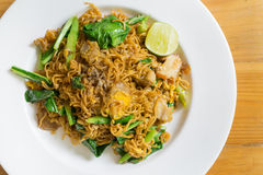 Stir fried noodle with minced pork. And vegetable, selective focus royalty free stock images