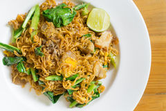 Stir fried noodle with minced pork. And vegetable, selective focus stock images