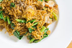Stir fried noodle with minced pork. And vegetable, selective focus royalty free stock image