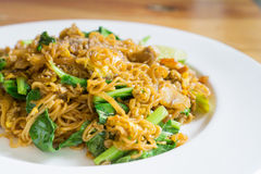 Stir fried noodle with minced pork. And vegetable, selective focus royalty free stock photos