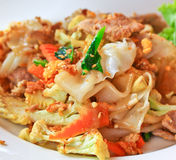 Stir fried noodle and pork with soy sauce Stock Photo
