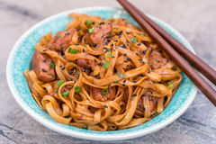 Stir Fried noodle with pork in soy sauced Royalty Free Stock Images