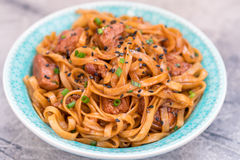 Stir Fried noodle with pork in soy sauced Royalty Free Stock Photography
