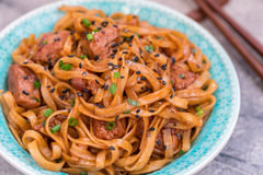 Stir Fried noodle with pork in soy sauced Stock Photos