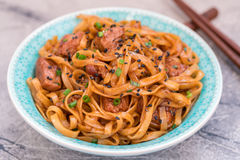 Stir Fried noodle with pork in soy sauced Stock Photography